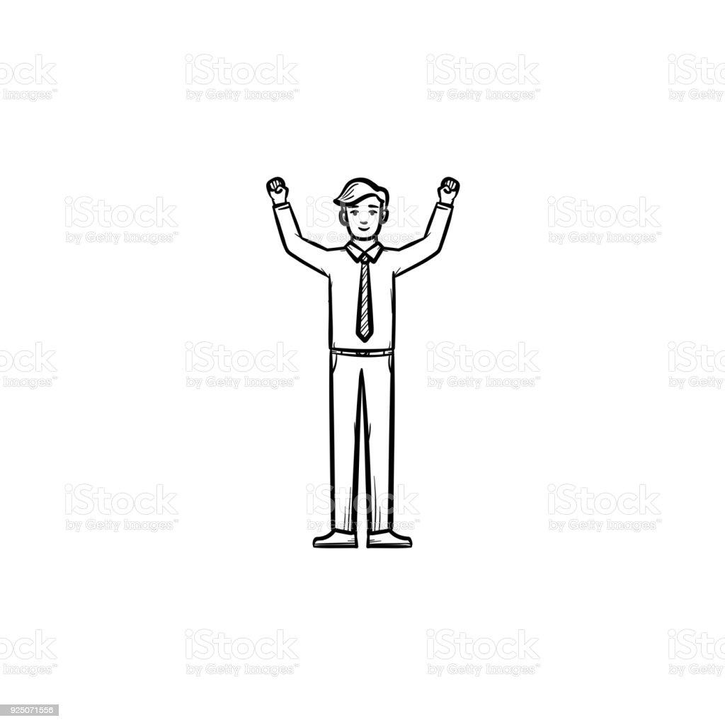 Entrepreneur figure hand drawn sketch icon vector art illustration