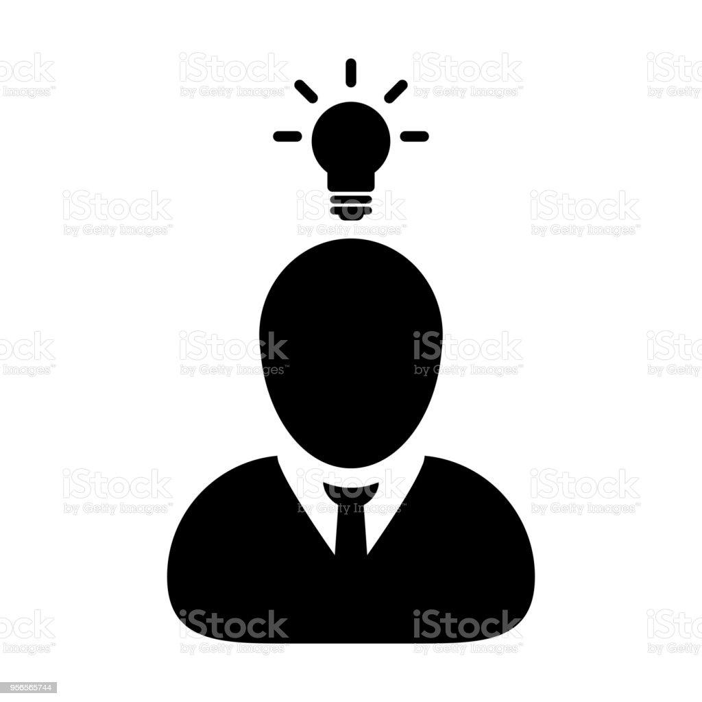 Idée De Photo De Profil entrepreneur vecteur mâle personne profil avatar symbole dicône avec  ampoule pour une idée créative pour business development en glyphe  pictogramme