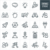 A set of entrepreneur icons that include editable strokes or outlines using the EPS vector file. The icons include entrepreneurs, business people, business startups, business organization, businessmen, success in business, business growth, ladder of success, creative ideas, hard work and solutions to name a few.