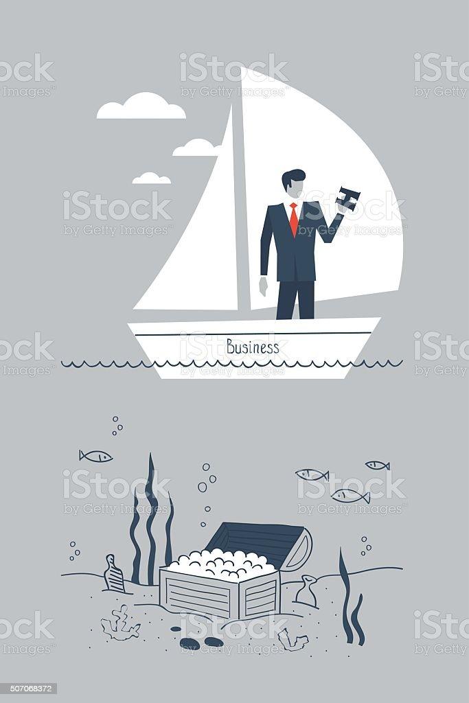 Entrepreneur missing an opportunity to make money vector art illustration