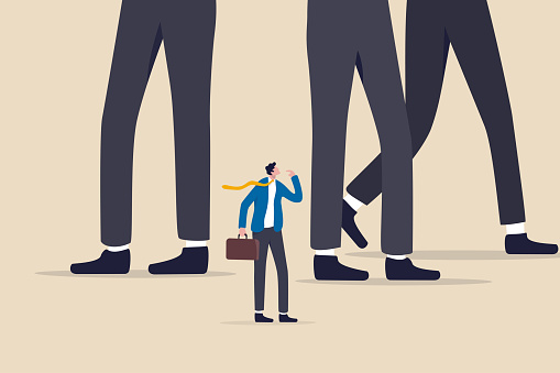 Entrepreneur or small business to fight with large company, fear in business competition, threats or conflict concept, struggle businessman look at big company competitor in same business or industry.