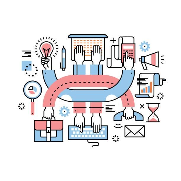 Travail d'équipe et multitâche entrepreneurs - Illustration vectorielle