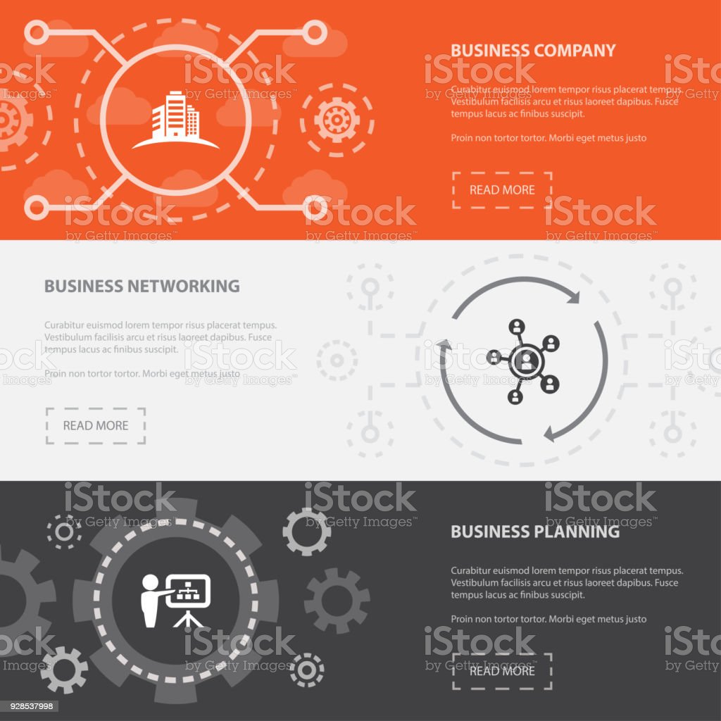 Entrepreneurship 3 horizontal webpage banners template with Business Company, Business networking, Business Planning concept. Flat modern isolated icons illustration. vector art illustration