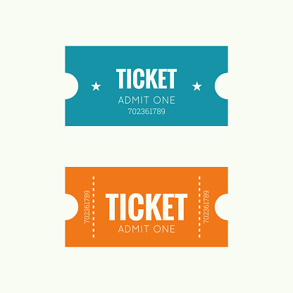 Entry ticket to old vintage style. Admit one theater, cinema, zoo, swimming pool, fair, rides, swing, amusement park, carousel. icon for online booking of tickets. Web and mobile app