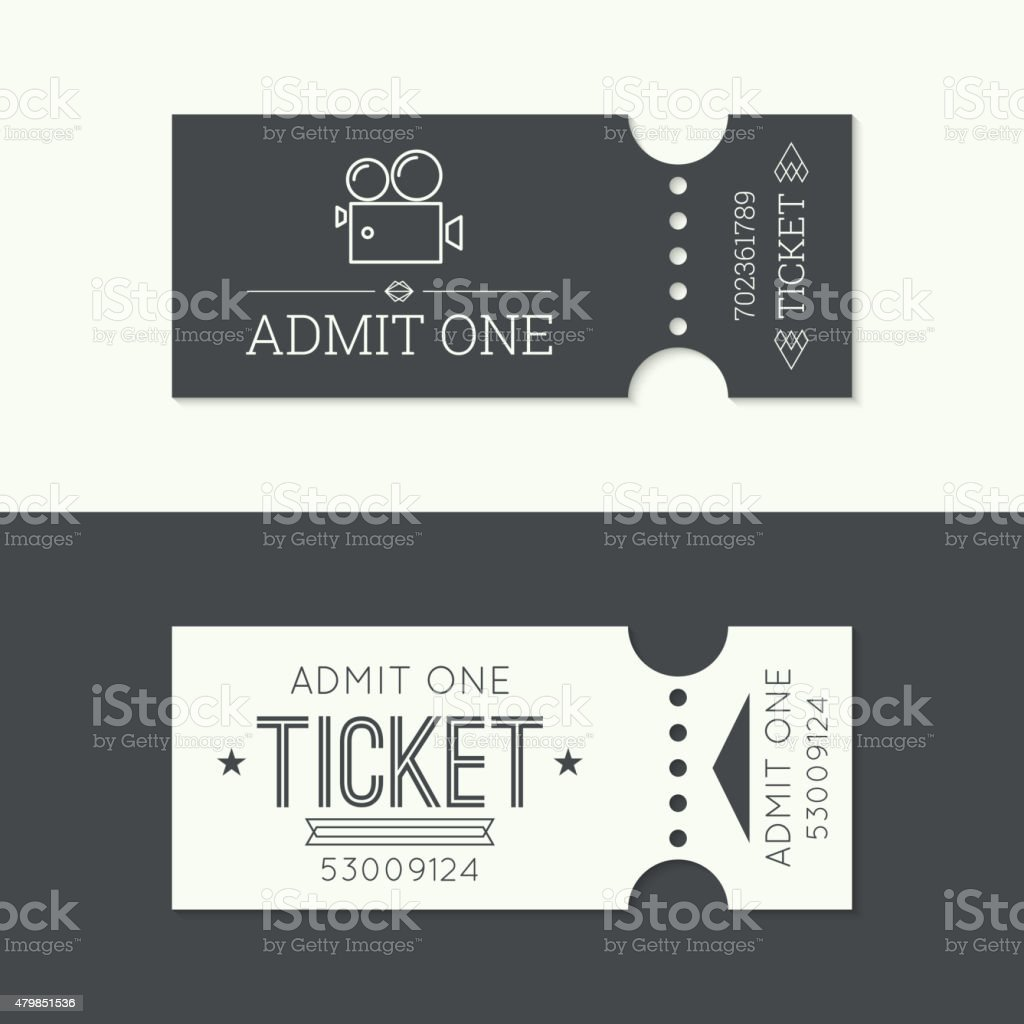 Entry ticket to old vintage style vector art illustration