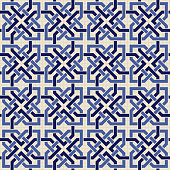 Entwined modern pattern, based on traditional oriental arabic patterns. Seamless vector background. Arabesque geometric pattern. Traditional Islam pattern.