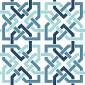 Entwined modern pattern, based on traditional oriental arabic patterns. Seamless vector background. Arabesque geometric pattern. Traditional Islam pattern