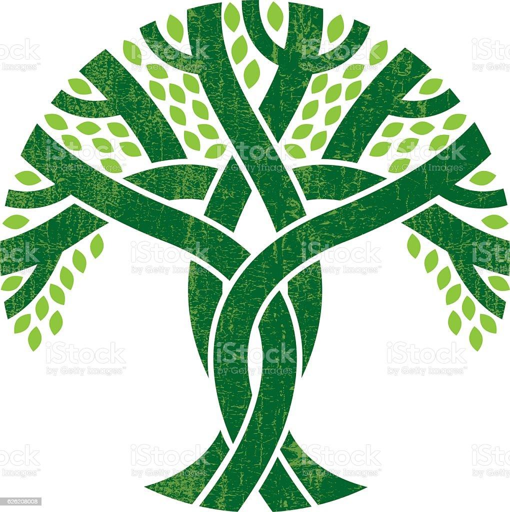 Entwined tree logo illustration