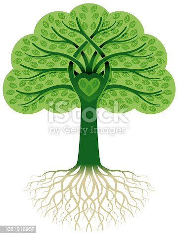 A tree with entwined leaves and a heart at its centre.