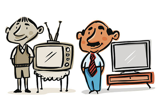 Envejecer con el paso del tiempo, de niño a viejo. Before and after of a man. From child to greatest. Child with an old television and himself most with a plasma TV. Feeling time. Over the years. The years go fast. Young person and the same person 50 years later.  tiempo stock illustrations