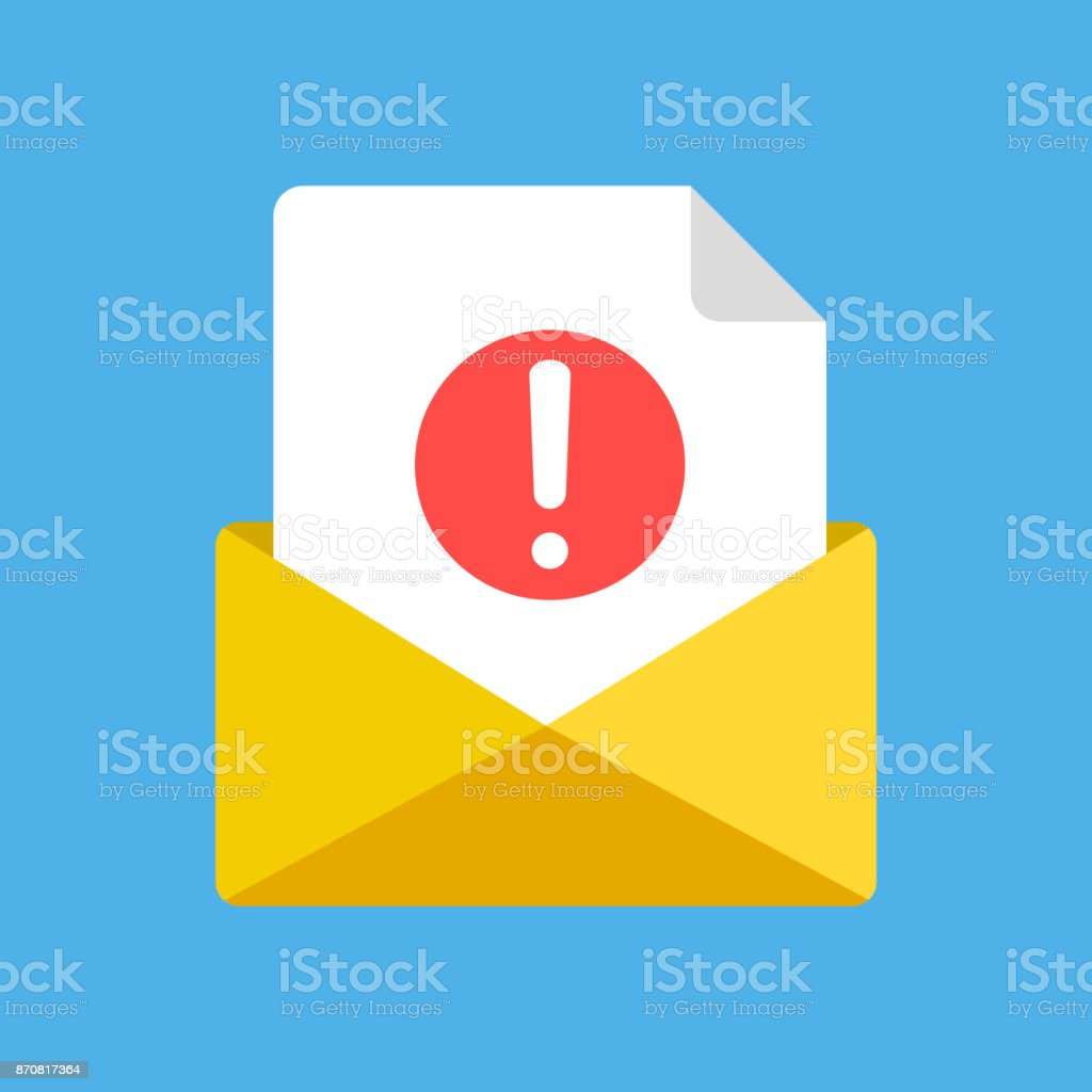 Busta e documento con punto esclamativo, punto esclamativo. Nuovi messaggi di posta elettronica ricevuti, e-mail, spam, concetti di notifica. Elementi grafici moderni. Icona del vettore di progettazione piatta - arte vettoriale royalty-free di Affari