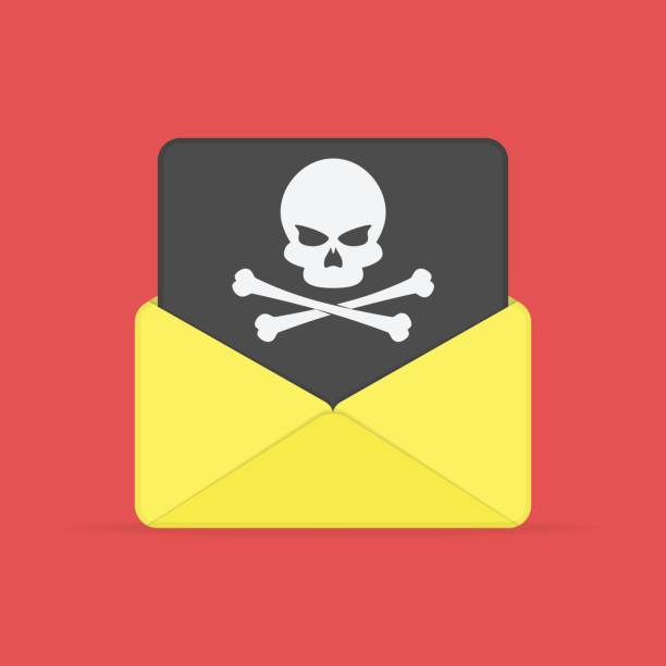 Envelope and document with skull. Open envelope and black document with skull icon. Virus, malware, email fraud, e-mail spam or hacker attack concept. Vector illustration in flat style. EPS 10. computer virus stock illustrations