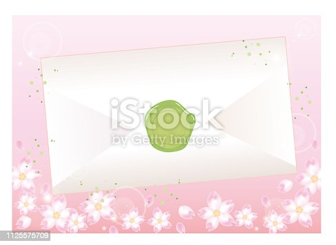 istock Envelope and sealed - Cherry Blossoms Background 1125575709