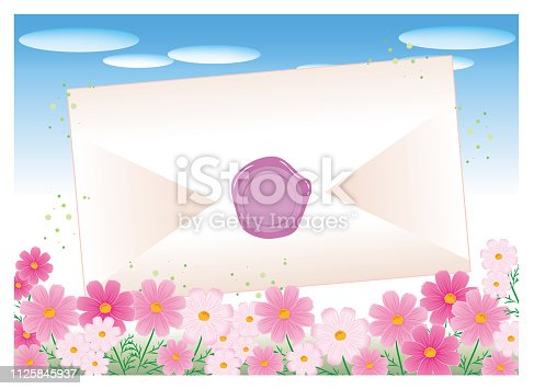 istock Envelope and sealed - Cosmos flower garden 1125845937