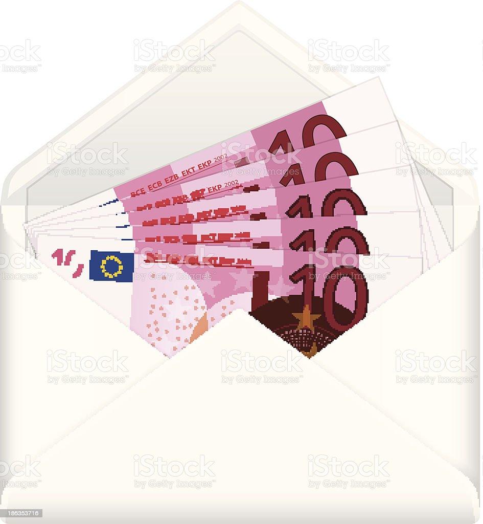 envelope and ten euro banknotes royalty-free stock vector art