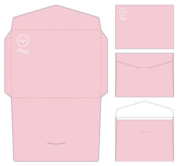 Envelope die cut mock up template vector vector art illustration