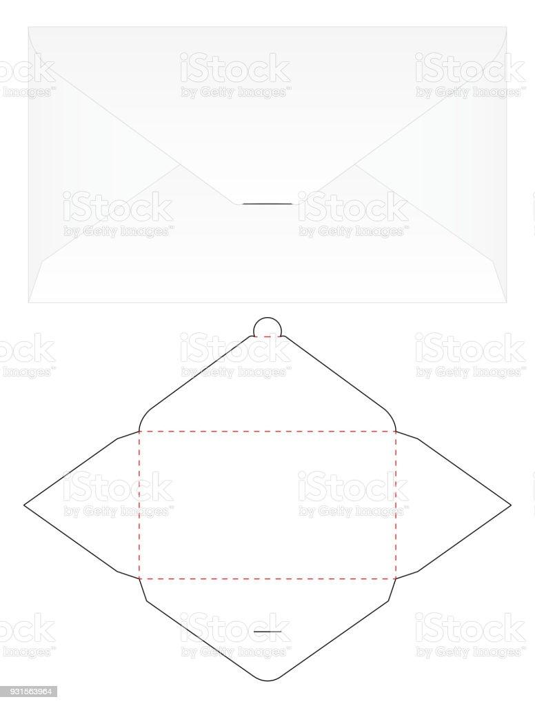 Umschlag Gestanzt Mockup Vorlage Vector Stock Vektor Art Und Mehr