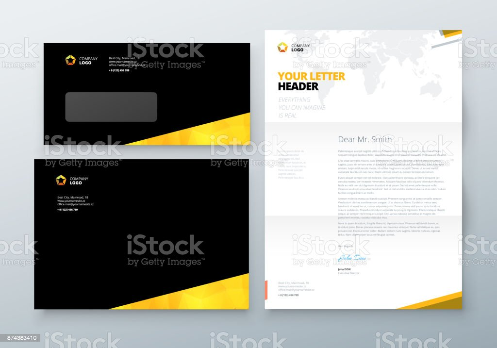Envelope dl c5 letterhead black yellow corporate business template envelope dl c5 letterhead black yellow corporate business template for envelope and letter spiritdancerdesigns Image collections