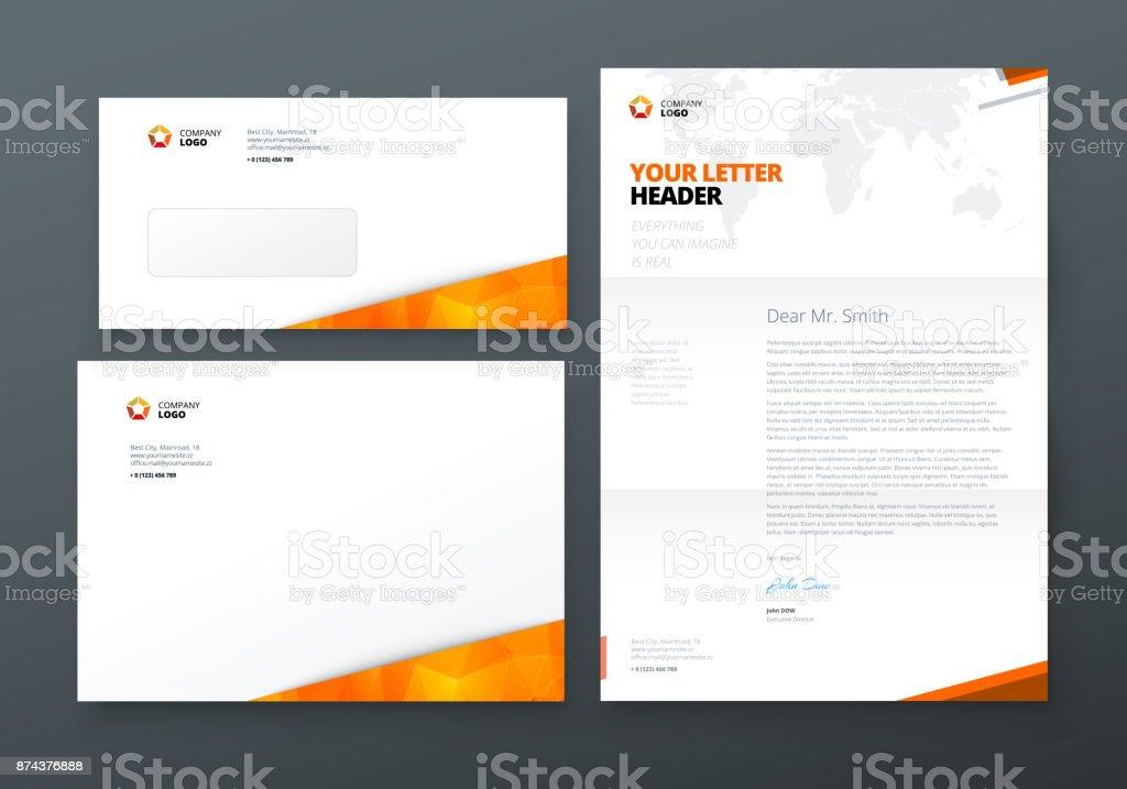 Umschlag Dl C5 Briefkopf Orange Corporate Businesstemplate Für