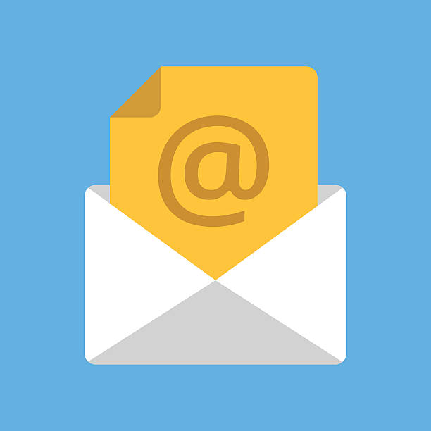 Envelope, document with at sign. Email address, e-mail, incoming message White envelope with yellow document with at sign. Email address, e-mail box, incoming message concepts. Modern flat design vector icon email signs stock illustrations