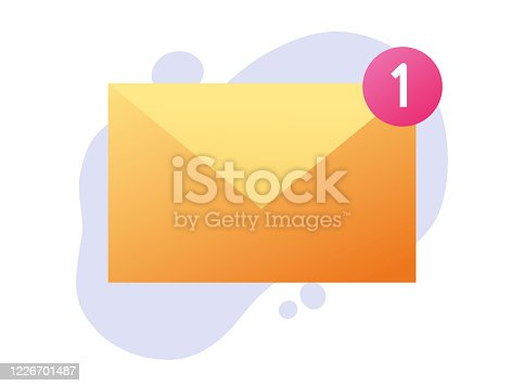 istock Envelope email icon with new incoming notification message or new inbox mail reminder notice vector flat cartoon illustration isolated, concept of digital or internet postal letter modern design image 1226701487