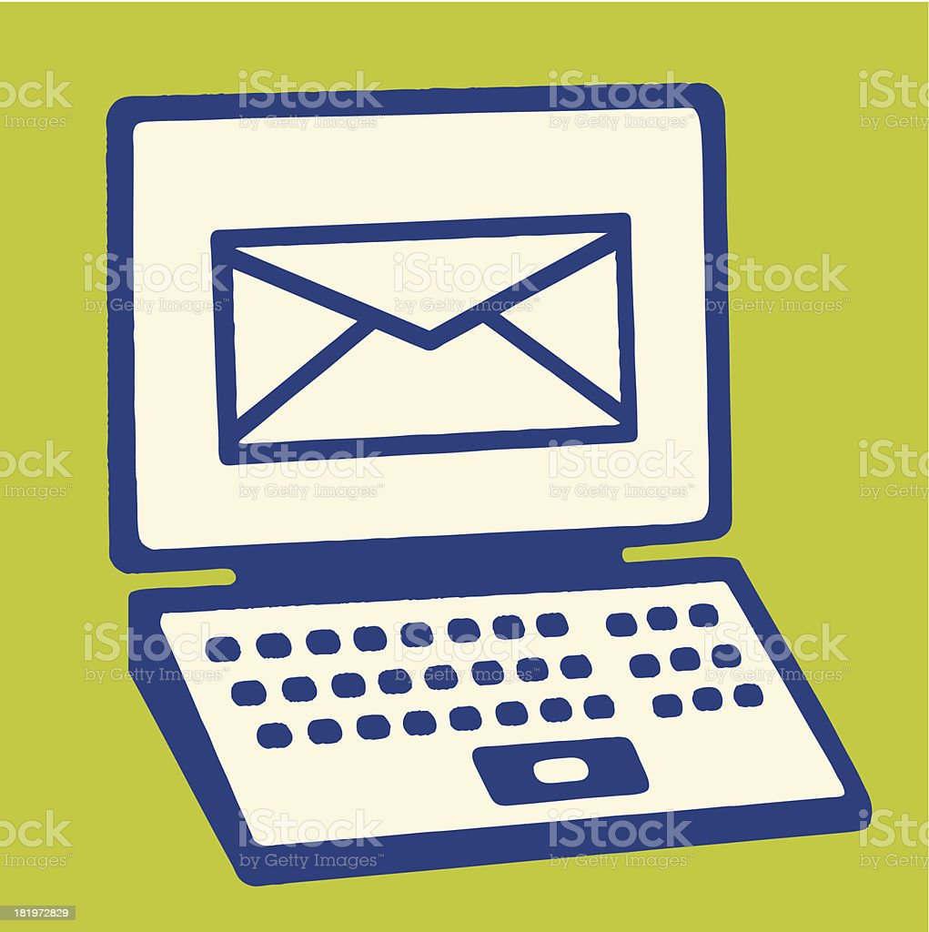 Envelope Icon on Screen of Laptop Computer royalty-free envelope icon on screen of laptop computer stock vector art & more images of colored background