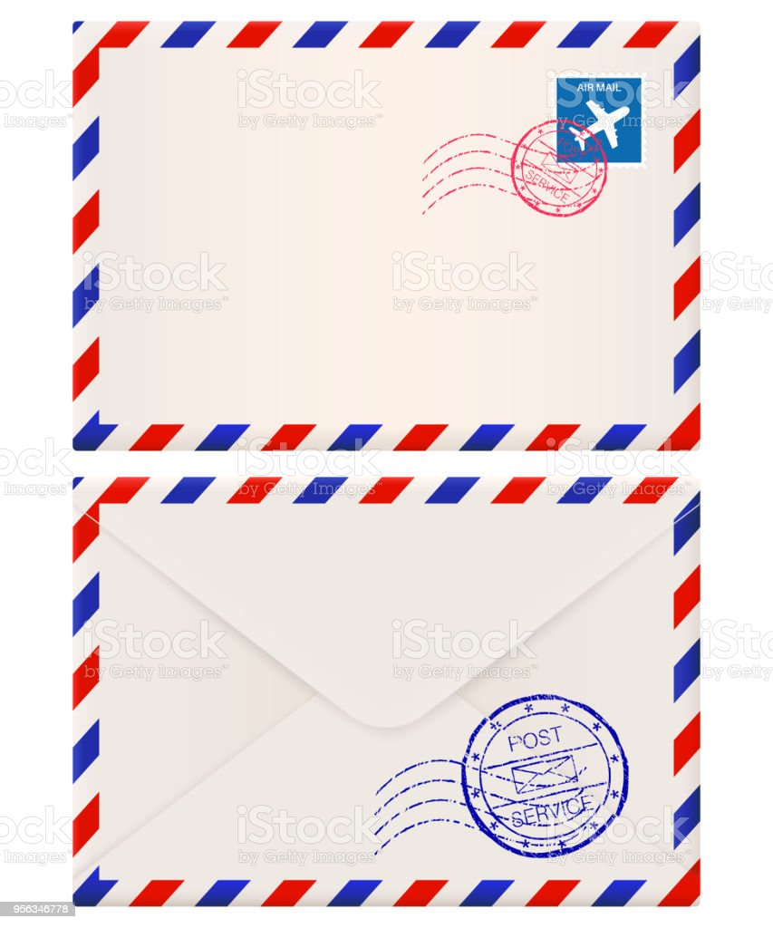 Envelope. International air mail with red and blue frame. Front and back side