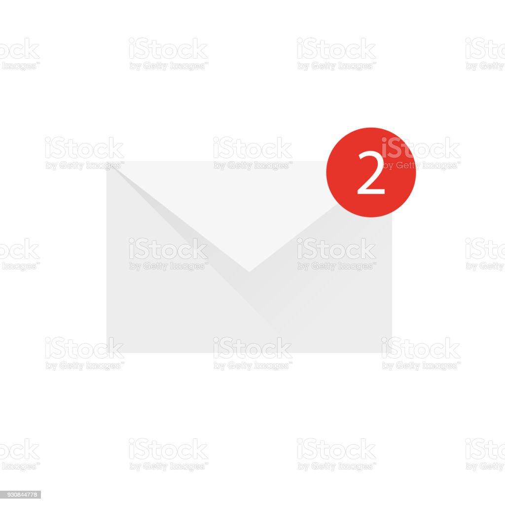 Briefumschlag Schreiben 2 Nachricht Auf Weißem Hintergrund Stock