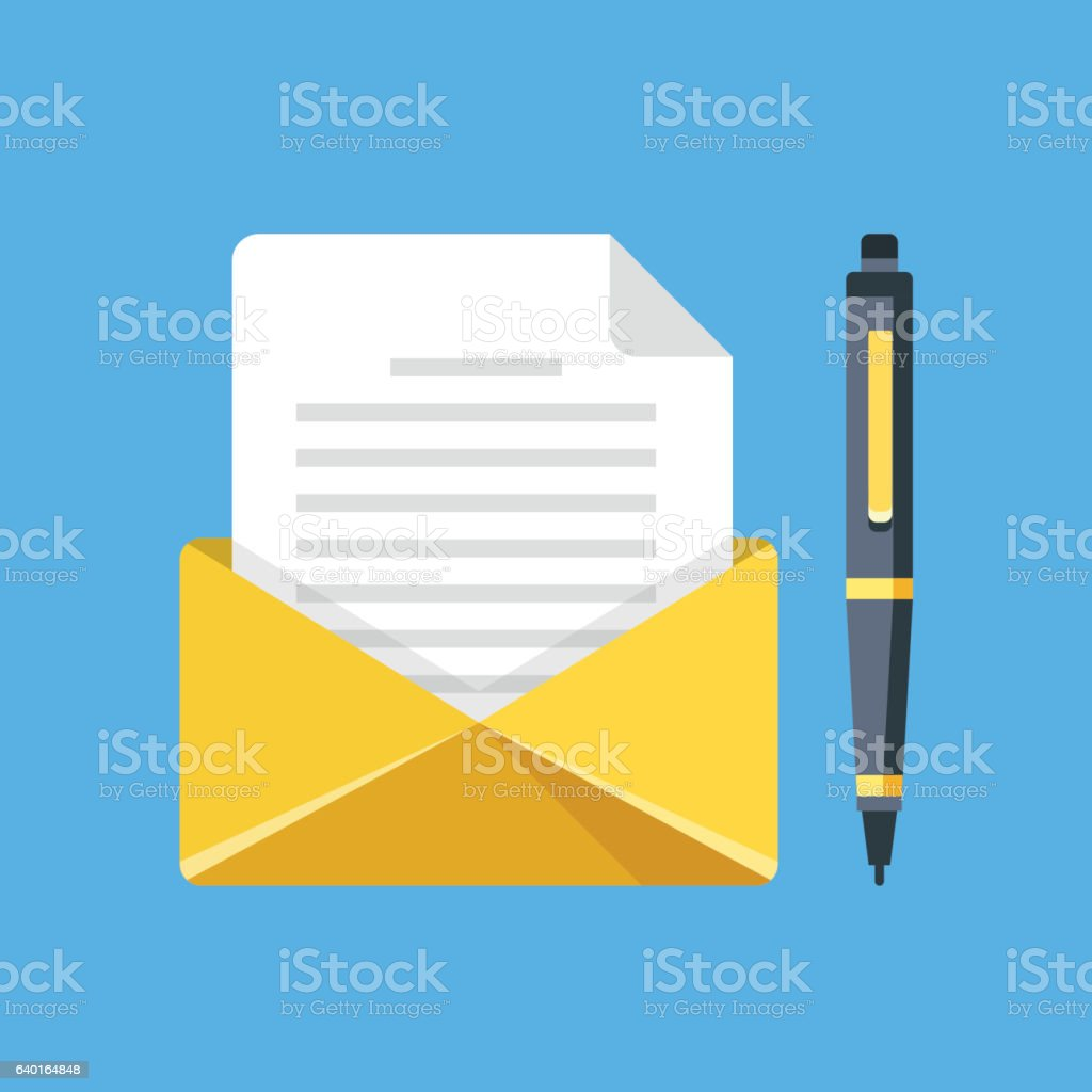 Envelope Letter And Pen Write Letter Email Mail Vector Illustration
