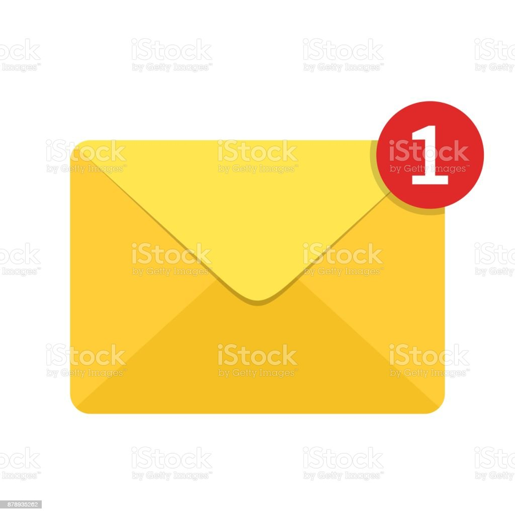 Envelope letter with counter notification isolated on white background. Mail icon. concept of incoming email message, mail delivery service for social network, web or mobile app vector art illustration