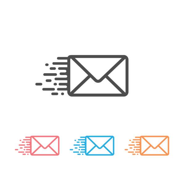 illustrazioni stock, clip art, cartoni animati e icone di tendenza di envelope line icon set. vector illustration - newsletter