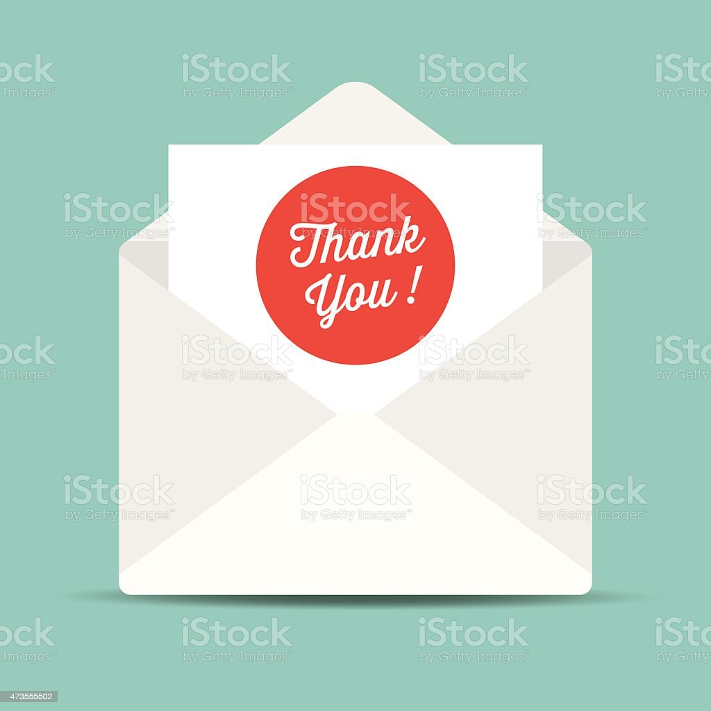 Envelope mail, thank you card. Vector illustration.