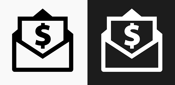 Envelope Money Icon On Black And White Vector Backgrounds ...