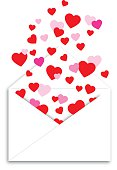 Vector illustration of a white envelope with red and pink hearts floating out of it.