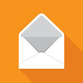Vector illustration of an open envelope against an orange background in flat style.
