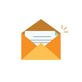 Envelope open with letter vector icon isolated on white