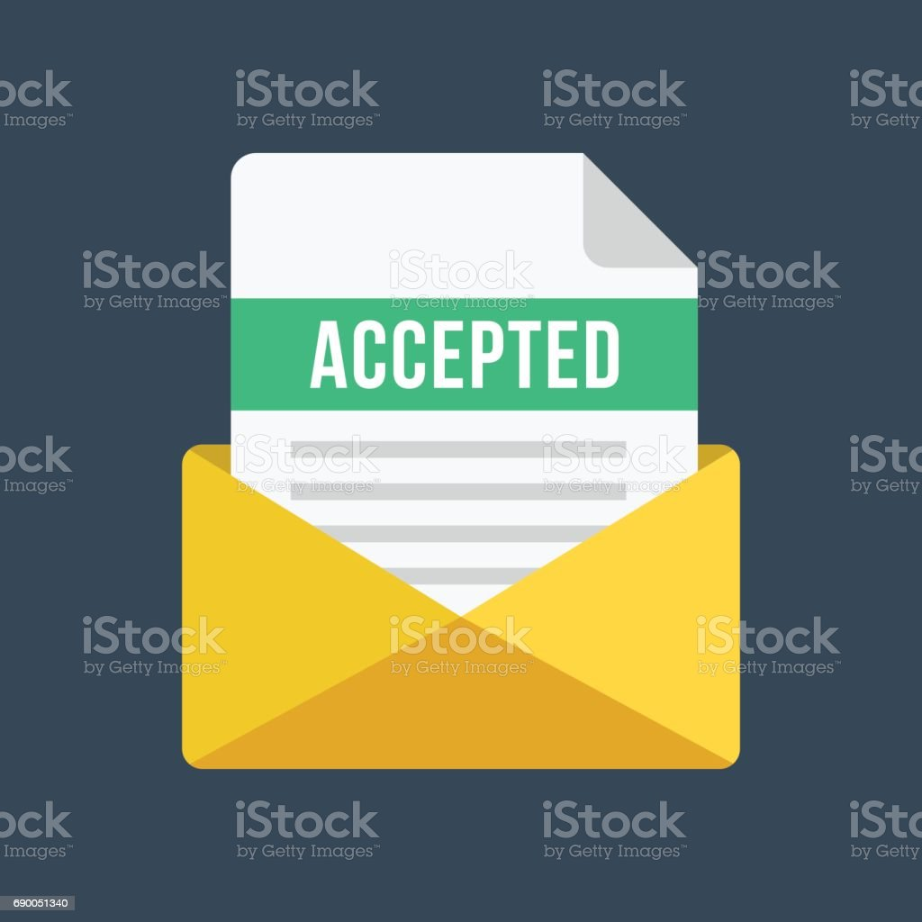 Envelope with acceptance letter. Email and document with accepted title. Modern flat design vector illustration vector art illustration