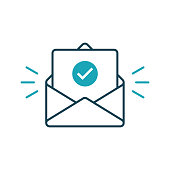 istock Envelope with confirmed document. Vector outline icon 1058906380