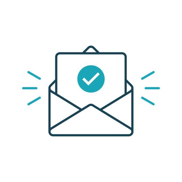 конверт с подтвержденным документом. значок контура вектора - письмо документ stock illustrations