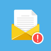 Envelope with document and exclamation mark. E-mail, notification, suspicious email, warning, fraud alert concepts. Modern flat design. Vector illustration