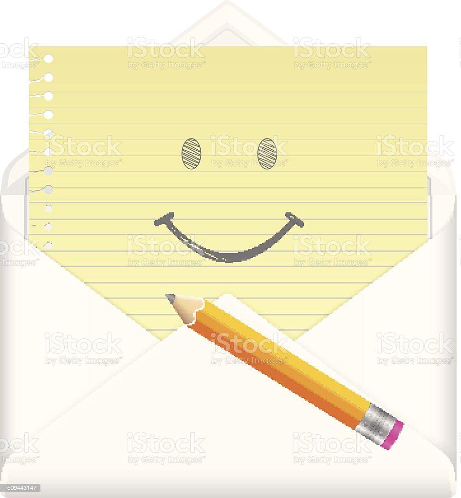 Dessin D Enveloppe enveloppe avec le dessin de symbole de sourire visage – cliparts