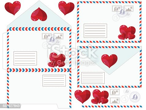 Scan of the envelope with a heart as valentines, vector illustration