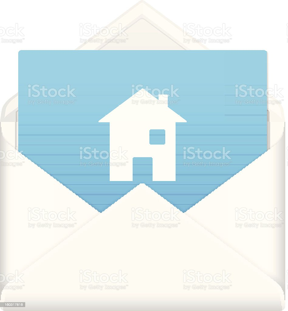 envelope with house symbol royalty-free envelope with house symbol stock vector art & more images of architecture