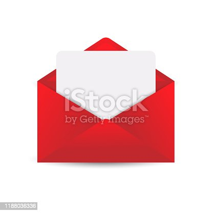 istock Envelope with letter mockup, realistic paper mail with blank card. Isolated without background. Luxury open folder, 3D vector illustration for Valentines day, invitation, birthday card, logo, icon 1188036336