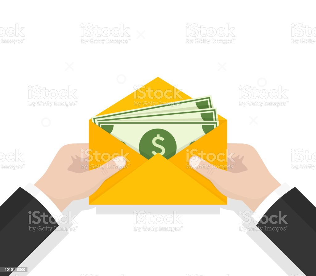 envelope with money open envelope with dollars vector illustration