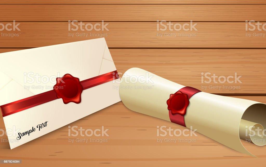 Envelope com rolo de papel e selo de cera vermelha - ilustração de arte em vetor