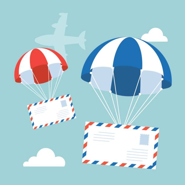 envelope with parachute in the sky with flying plane and clouds on background, flat design vector for airmail concept – artystyczna grafika wektorowa