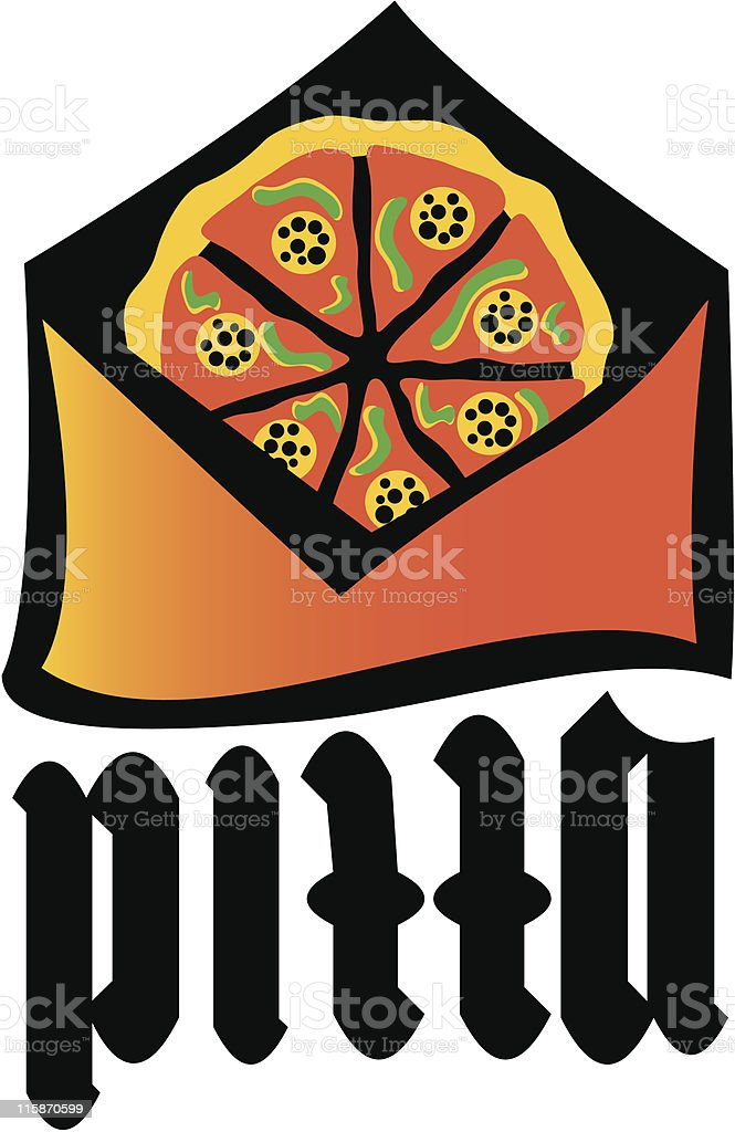 Envelope with pizza royalty-free stock vector art
