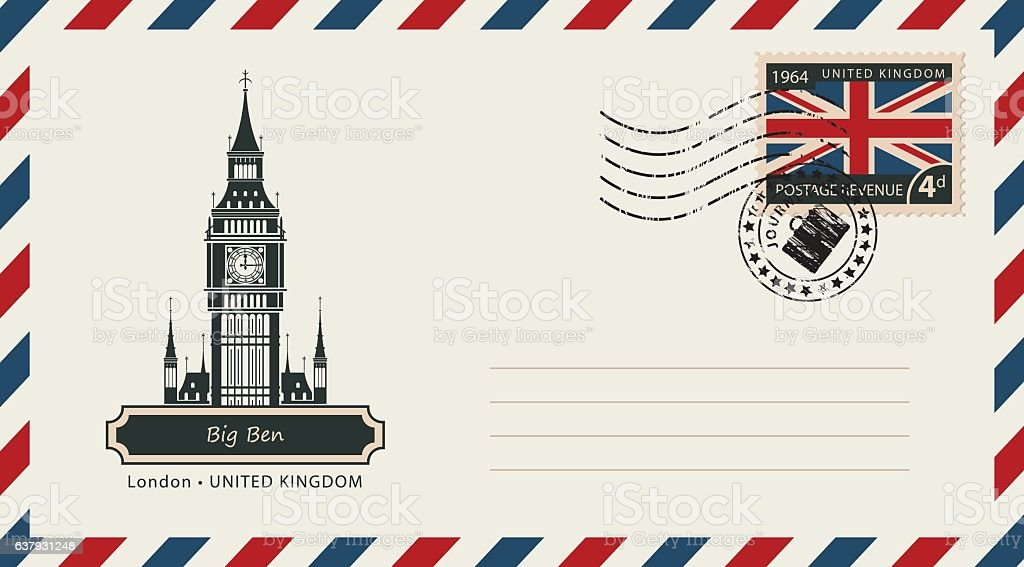 envelope with postage stamp with London Big Ben - ilustración de arte vectorial