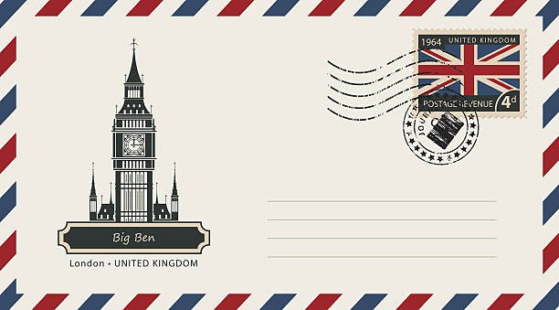 ilustraciones, imágenes clip art, dibujos animados e iconos de stock de envelope with postage stamp with london big ben - bandera británica